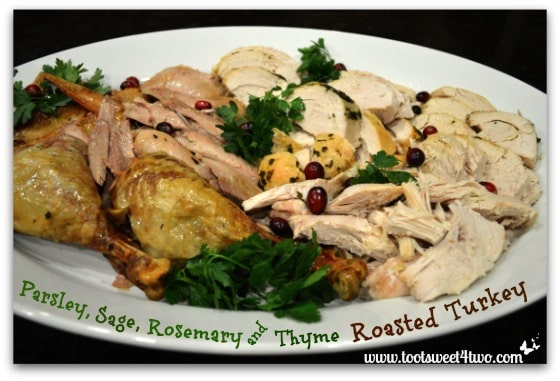 Parsley, Sage, Rosemary and Thyme Roasted Turkey on a platter