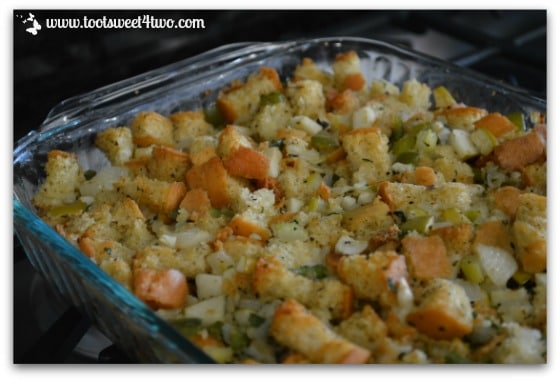 Stuffing out of the oven