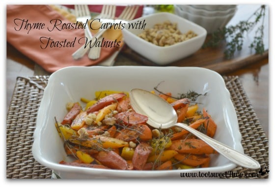 Thyme Roasted Carrots on the table