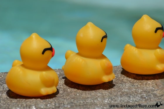 Back side of yellow duckies with sunglasses
