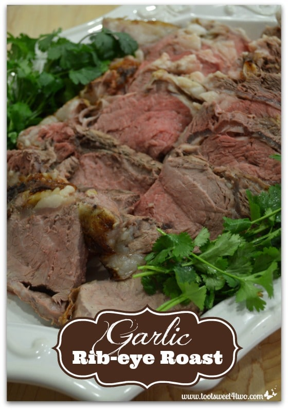 Garlic Rib-eye Roast on serving platter Pinterest