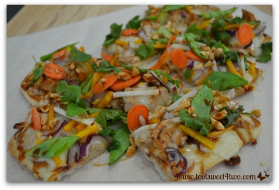 Thai Turkey Flatbread Pizza cut up into pieces