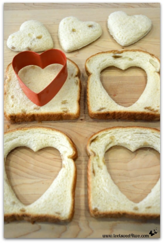 Heart cut-outs in bread - Heart in the Hole