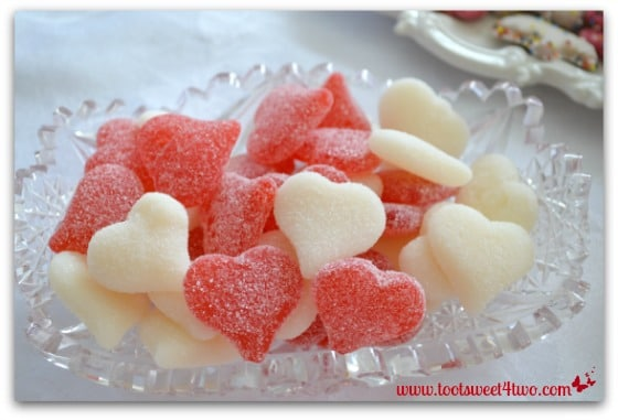 Jelly Candy Hearts in a crystal bowl