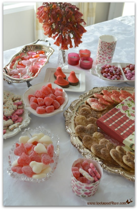 Valentine Candy and Cookie Buffet table