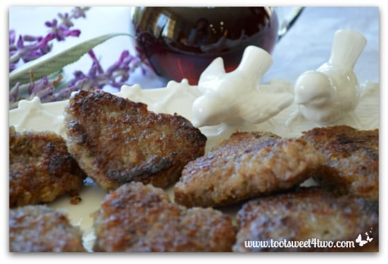 White ceramic birds with Sweetheart Maple and Sage Sausage Patties