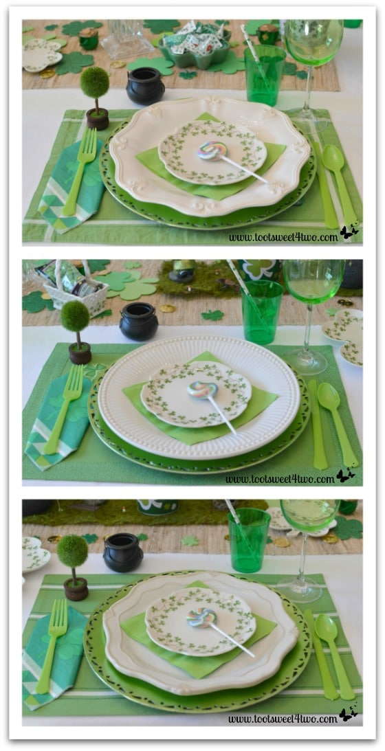 3 different plates for St. Patrick's Day table
