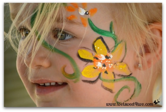 Face painting on Princess Sweetie Pie - 42 Shades of Green