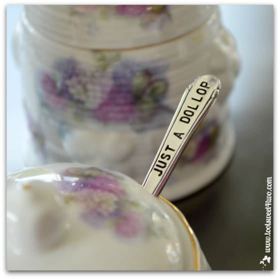 Just a Dollop spoon in sugar bowl - The Charms of Afternoon Tea