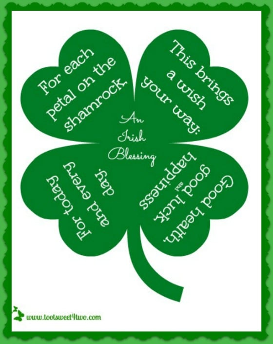 Petal on the Shamrock Irish Blessing