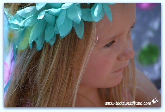 Princess P wearing her blue-green fairy crown
