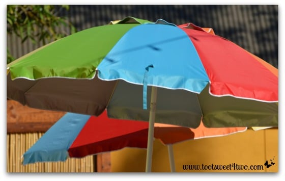 Rainbow umbrellas at the San Diego Zoo
