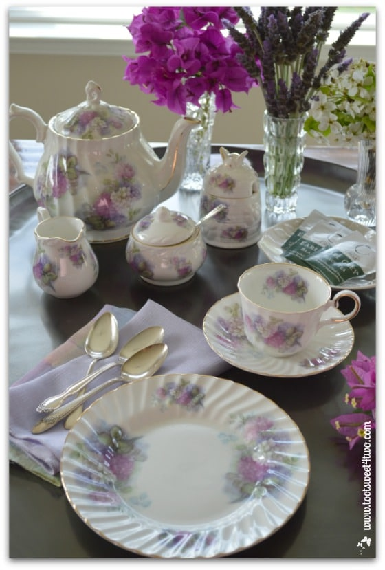 Setting up the tea table - The Charms of Afternoon Tea