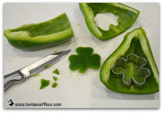 Shamrocks made from green bell peppers