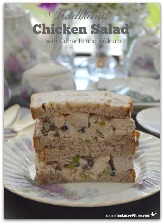 Traditional Chicken Salad with Currants and Walnuts close-up