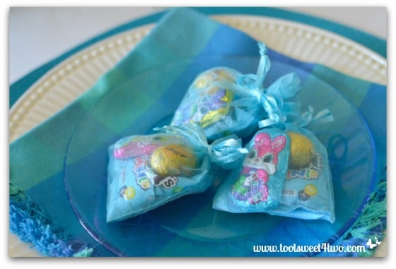 Blue Easter candy treat bags - Decorating the Table for an Easter Celebration