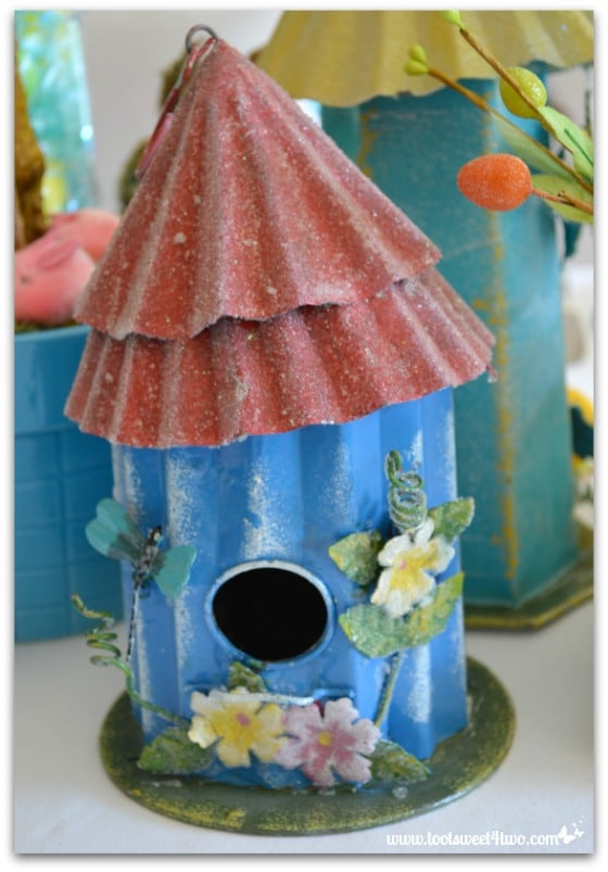Blue birdhouse - Decorating the Table for an Easter Celebration
