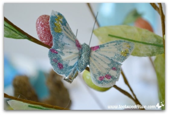 Blue glitter butterfly - Decorating the Table for an Easter Celebration