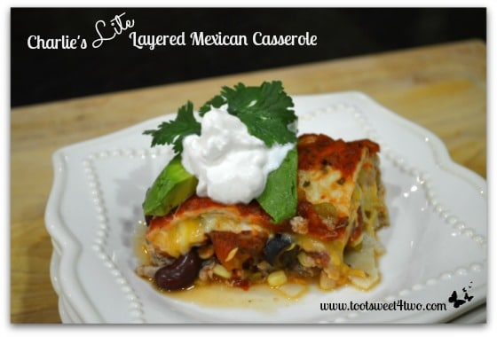 Charlie's Lite Layered Mexican Casserole with garnish