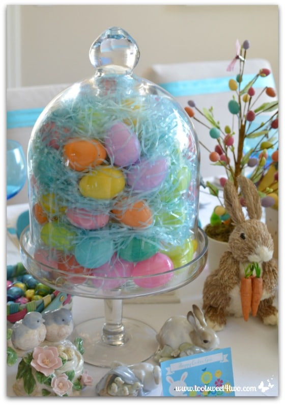Cloche filled with Easter eggs - Decorating the Table for an Easter Celebration
