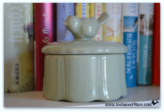 Cute green ceramic bird jar - 42 Things in Your Home Office and Library