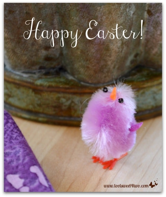 Cute tiny purple chenille Easter chick