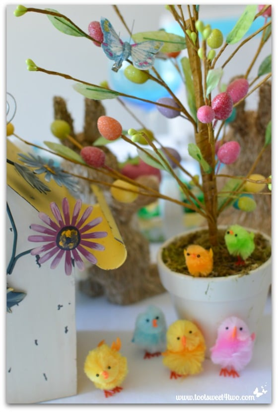 Easter Egg Tree and chennille chicks - Decorationg the Table for an Easter Celebration