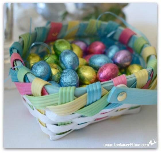 Easter Egg chocolate candy in an Easter basket - Decorating the Table for an Easter Celebration