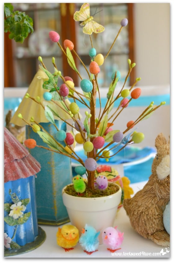 Easter Egg tree and chicks - Decorating the Table for an Easter Celebration
