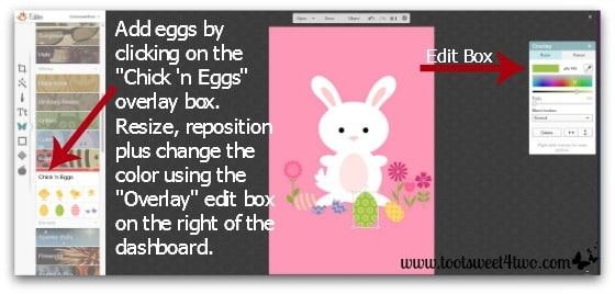 Here Comes Peter Cottontail tutorial - Step 7 - Change the overlay's color in PicMonkey