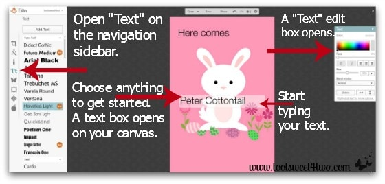 Here Comes Peter Cottontail tutorial - Step 8 - Start typing your text in PicMonkey
