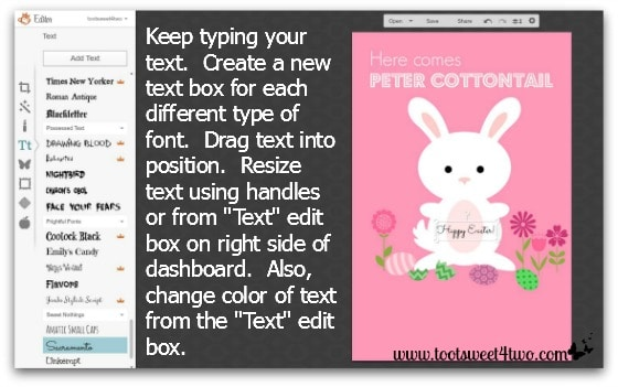 Here Comes Peter Cottontail tutorial - Step 9 - Edit text in PicMonkey