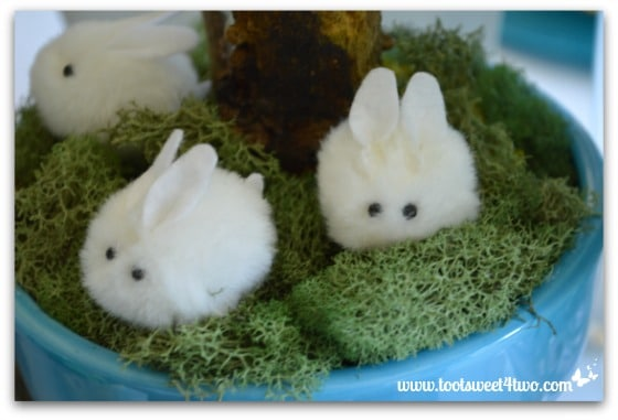 Little white chennille bunnies - Decorating the Table for an Easter Celebration