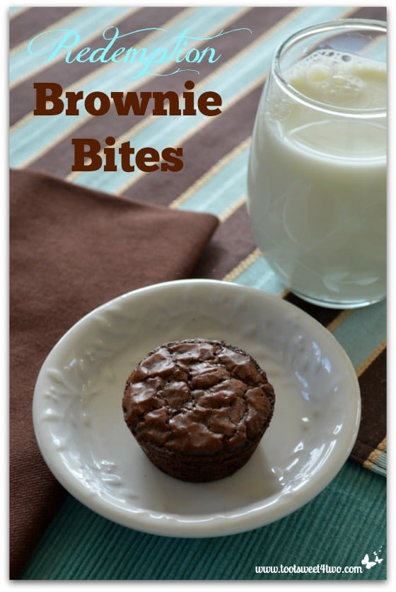 Redemption Brownie Bites and a glass of milk