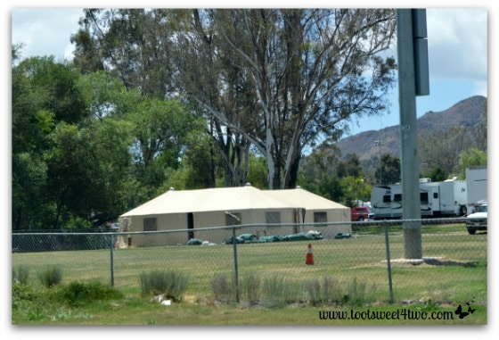 Close-up of tent in Tent City at Kit Carson Park, Escondido - Alert are you Ready