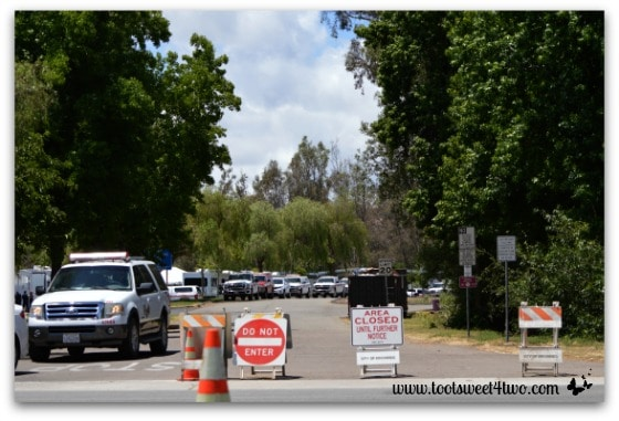 Entrance to Kit Carson Park, Escondido filled with fire service vehicles - Alert are you Ready