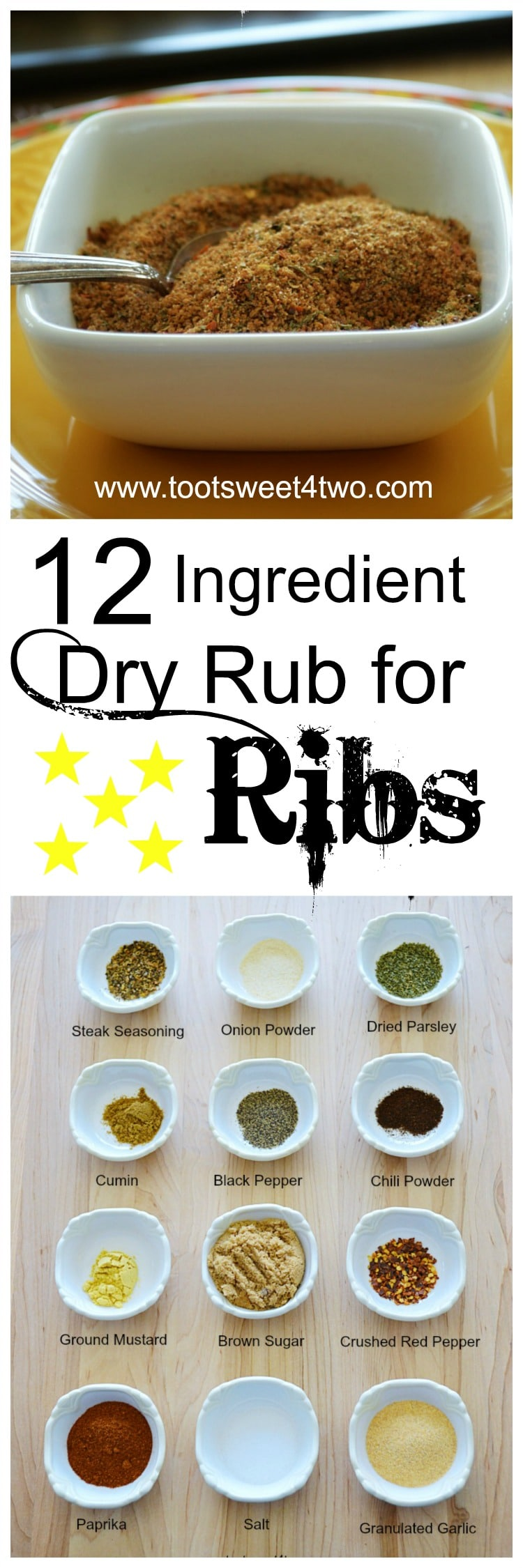 Dry rub for ribs is an easy way to add another layer of flavor to your summer grilling. And why run out and buy a special dry rub mix at the grocery store when you probably already have all the ingredients in your pantry and spice cabinet? Lots of spices and brown sugar join forces to make a sweet and savory homemade DIY dry rub for port ribs that takes only minutes. With just 12 ingredients from your pantry, this easy, garlic infused dry rub recipe is sure to become your favorite BBQ seasoning for baby back pork ribs. A dry rub recipe to beat all dry rubs and you made it yourself! | www.tootsweet4two.com