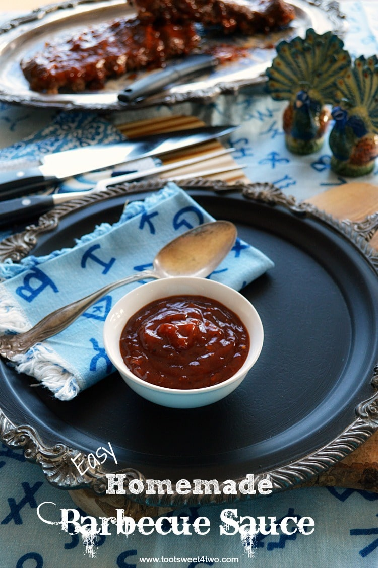 Has this ever happened to you? You defrost something that you want to slather with barbecue sauce, confident that you have barbecue sauce in your refrigerator or pantry, only to find out you don't when it's time to fix dinner? What do you do? You make Easy Homemade Barbecue Sauce! This DIY BBQ recipe is ketchup based with several spices and 2 surprise ingredients. All these flavors meld together to make the best BBQ sauce for ribs, chicken, and other grill favorites. | www.tootsweet4two.com