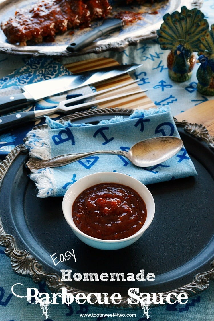 Has this ever happened to you? You defrost something that you want to slather with barbecue sauce, confident that you have barbecue sauce in the refrigerator or pantry, only to find out don't when it's time to fix dinner? What do you do? You make Easy Homemade Barbecue Sauce! This DIY BBQ recipe is ketchup based with several spices and 2 surprise ingredients. All these flavors meld together to make the best BBQ sauce for ribs, chicken, and other grill favorites. | www.tootsweet4two.com