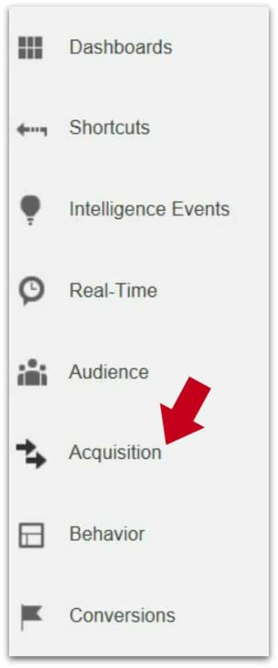 Google Analytics - Analyzing and Understanding the Acquisition Report -Acquisition Report with red arrow