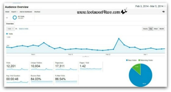 Google Analytics - Analyzing and Understanding the Audience Report - Audience Overview with graph
