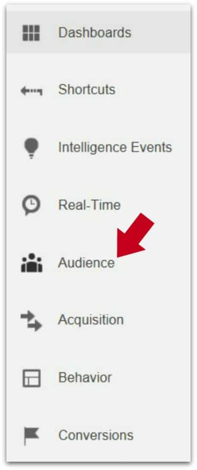 Google Analytics - Analyzing and Understanding the Audience Report - Audience Report with red arrow