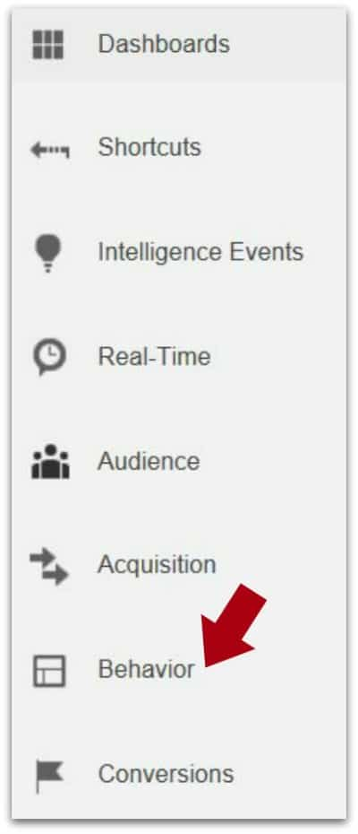 Google Analytics - Analyzing and Understanding the Behavior Report - Behavior with red arrow