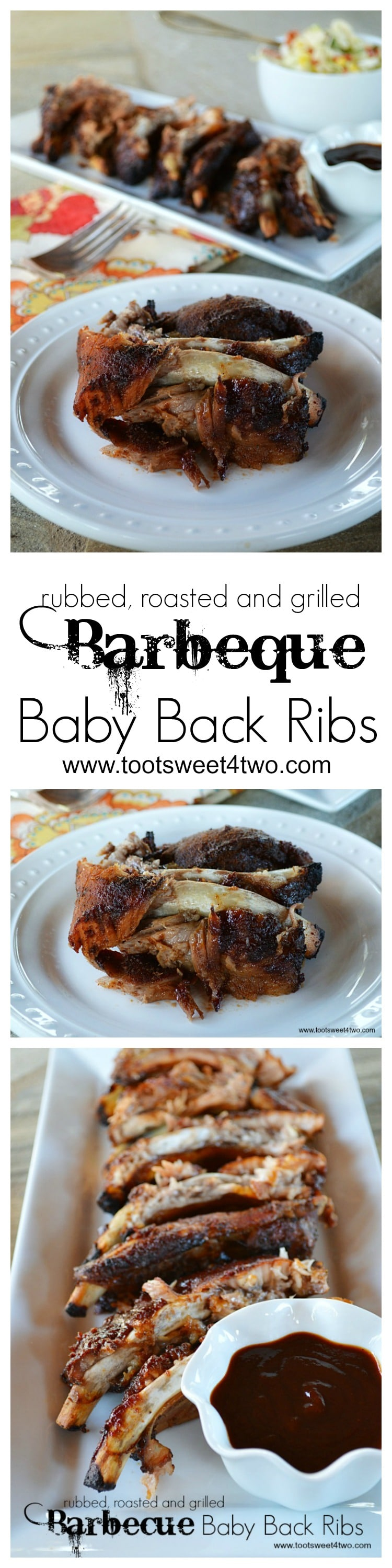 The trifecta of cooking the best baby back ribs, with this recipe you rub, roast, grill on the barbecue, pork ribs to perfection! Fall-off-the-bone deliciousness, this BBQ ribs recipe delivers all the sticky goodness of ribs on the grill, but less time standing over the hot grill and babysitting them. Roast the ribs in the oven first and finish the ribs on the grill. | www.tootsweet4two.com