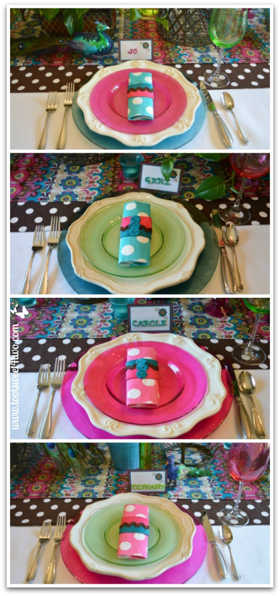 Finished Napkin Rings with Napkins on the table - How to Make Napkin Rings for Paper Napkins