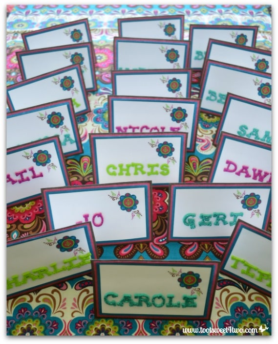 Finished easy party placecards