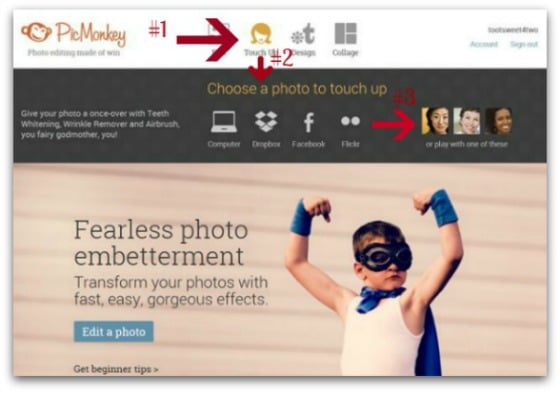 PicMonkey Basics - Getting Started - Pic 4 - Touch Up