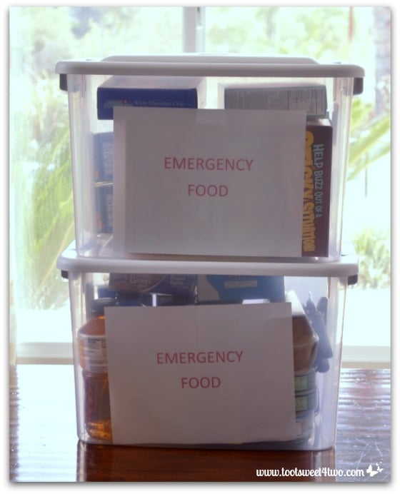 Emergency food supply in plastic tubs