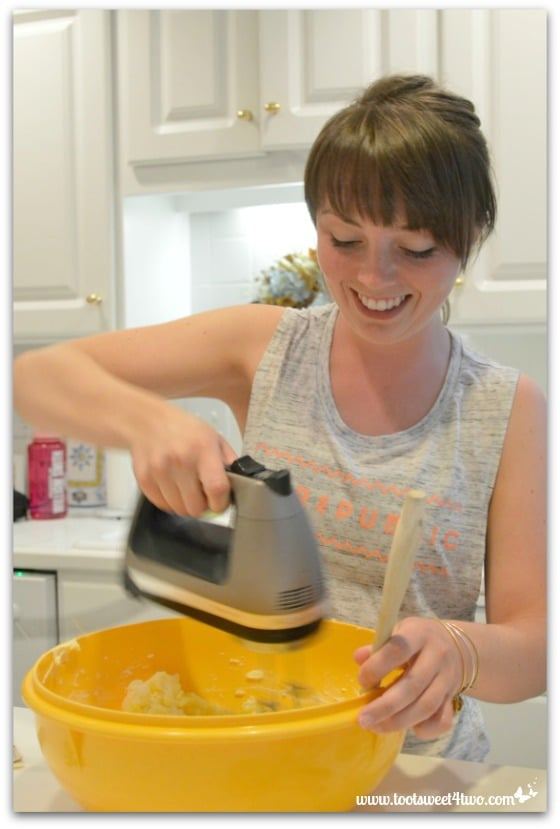 Erin mixing Erin's Iced Sugar Cookie Cutouts