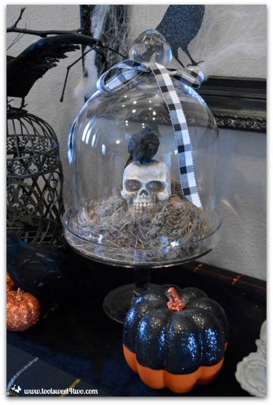 Crow and Skull in Cloche Nevermore Decorating for Halloween